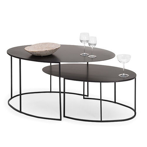 Slim Irony Oval Low table_black